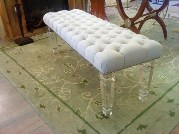 tufted bench with acrylic legs 2